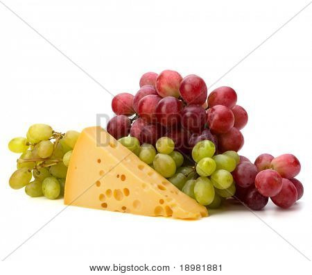 Perfect bunch of grapes and cheese isolated on white background