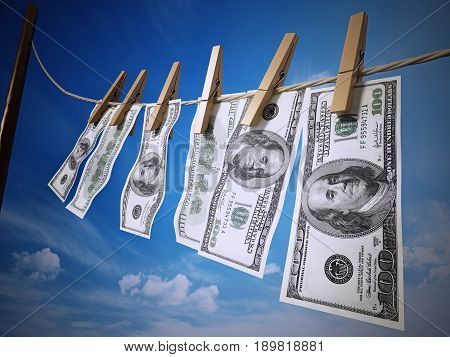 Money laundring concept with dollars hanging on the rope. 3D rendered illustration
