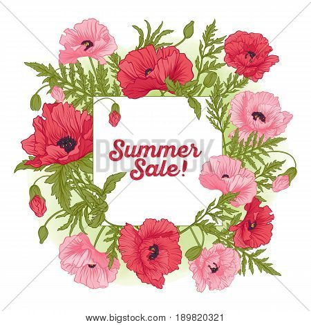 Summer sale card with red and pink poppy on green watercolor background. Stock line vector illustration.