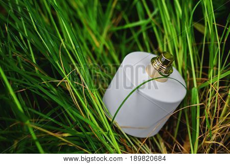 White bottle of perfume in green grass