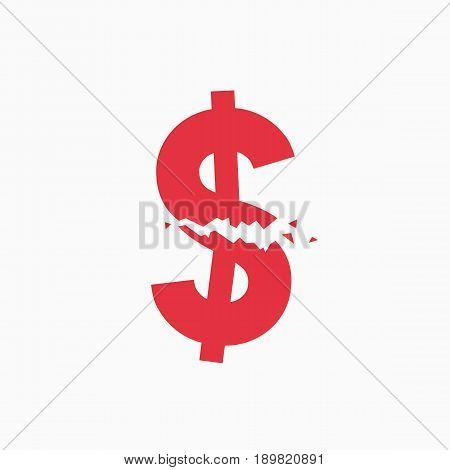 Crashed dollar sign, financial crisis, business illustration vector