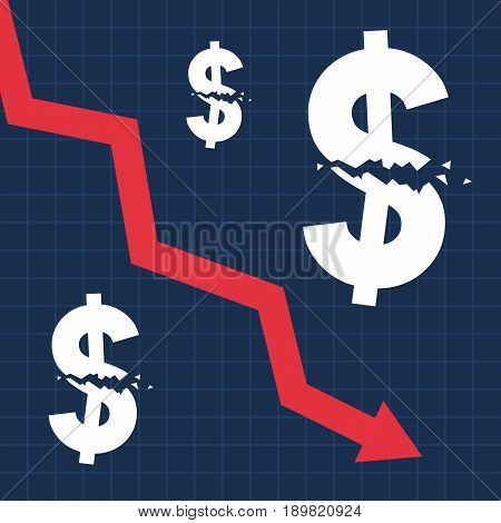 Crashed dollar sign and falling graph, financial crisis, business illustration vector