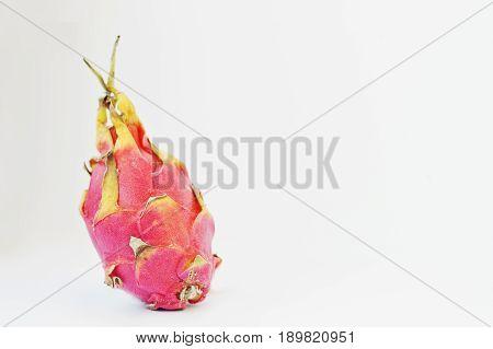 Exotic Fruit Pitaya Or Pitahaya, Dragon Fruit (hylocereus Undatus) Isolated On White Background. Hea