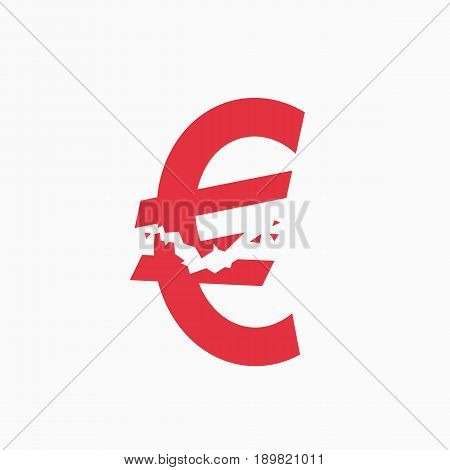 Crashed euro sign, financial crisis, business illustration vector