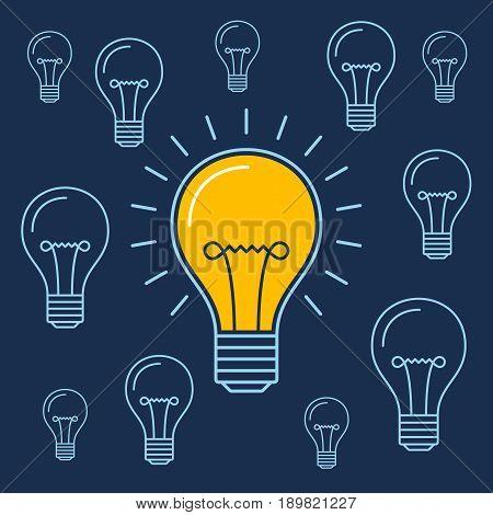 One lit bulb among unlit bulbs , New idea business illustration vector
