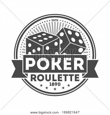 Poker roulette vintage isolated label. Casino roulette badge, poker club symbol. Games of chance or fortune gambling emblem vector illustration.
