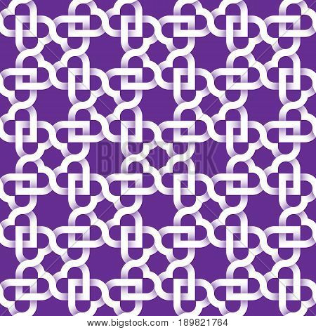 Abstract repeatable pattern background of white twisted strips on purple. Swatch of intertwined wavy strips. Seamless pattern with optical illusion of volume hearts.