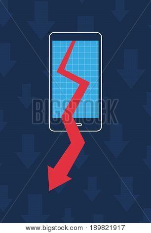 Smartphone graph arrow decrease, business marketing illustration vector