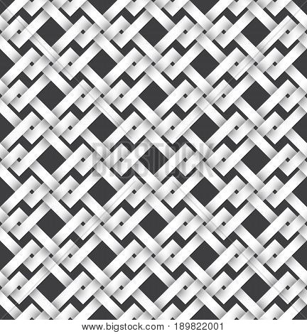 Abstract repeatable pattern background of white twisted strips. Swatch of intertwined zigzag bands. Volumetric seamless pattern in modern style.