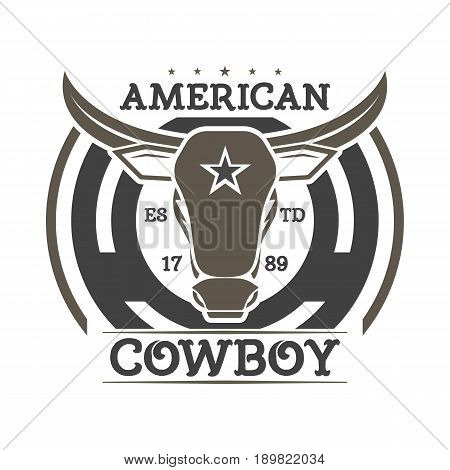 American cowboy vintage isolated label. Wild west rodeo event badge in monochrome style, bull skull sign, authentic western show symbol vector illustration.