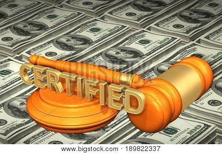 Certified Law Concept 3D Illustration