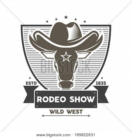 Wild west rodeo show isolated label. Wild west cowboy event badge in monochrome style, bull skull sign, authentic western show symbol vector illustration.