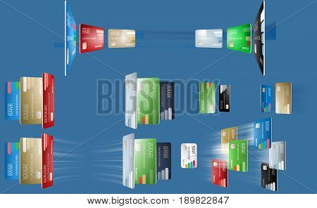 Vector illustration in a realistic style the concept of e-payments using bank cards. Illustration of the various bank cards in different angles, flying bank cards