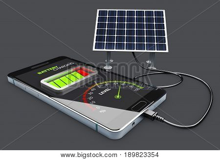 Phone charging and Solar Battery, isolated Black. 3d Illustration