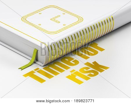 Timeline concept: closed book with Gold Watch icon and text Time For Risk on floor, white background, 3D rendering