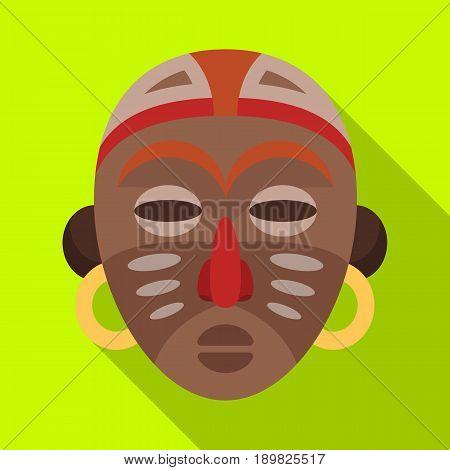 African tribal mask.African safari single icon in flat style vector symbol stock illustration .