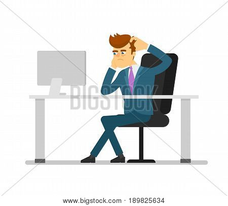 Businessman entrepreneur working on computer. Young man in business suit and tie sitting at office table isolated vector illustration.European businessman characters. European businessman cartoon style. Businessman at the work.