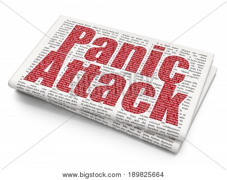 Health concept: Pixelated red text Panic Attack on Newspaper background, 3D rendering