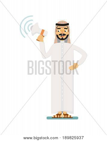 Muslim businessman character with megaphone. Standing arabian man in traditional clothing, business people vector illustration. Muslim businessman characters. Muslim businessman cartoon style. Businessman at the work.