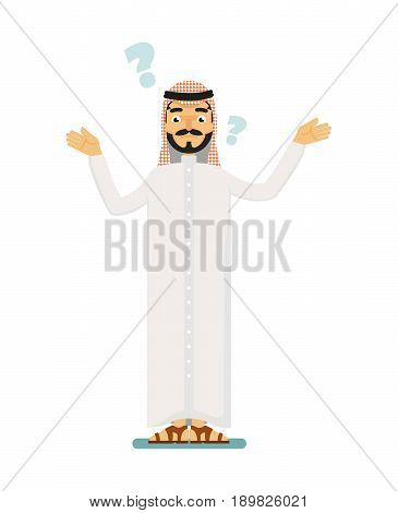 Doubtful muslim businessman asking question. Standing arabian man in traditional clothing, business people vector illustration. Muslim businessman characters. Muslim businessman cartoon style. Businessman at the work.
