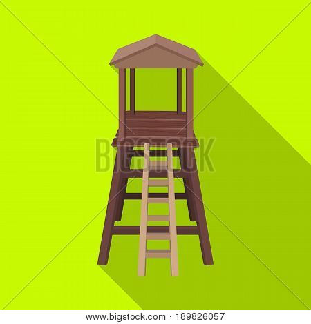 Observation tower for hunters.African safari single icon in flat style vector symbol stock illustration .