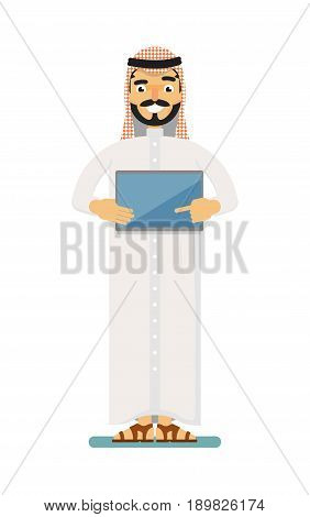 Smiling muslim businessman with tablet computer. Standing arabian man in traditional clothing, business people vector illustration. Muslim businessman characters. Muslim businessman cartoon style. Businessman at the work.