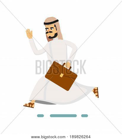 Muslim businessman hurrying to work. Running arabian man in traditional clothing, business people vector illustration. Muslim businessman characters. Muslim businessman cartoon style. Businessman at the work.