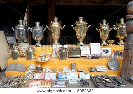 MOSCOW, RUSSIA - MAY 2, 2017: Samovars and teapots on the market. Old Russian device for making tea.