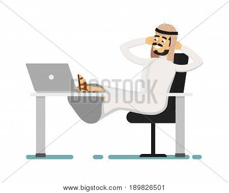 Muslim businessman sitting with feet on table. Arabian man in traditional clothing sitting at office table, business people vector illustration. Muslim businessman characters. Muslim businessman cartoon style. Businessman at the work.