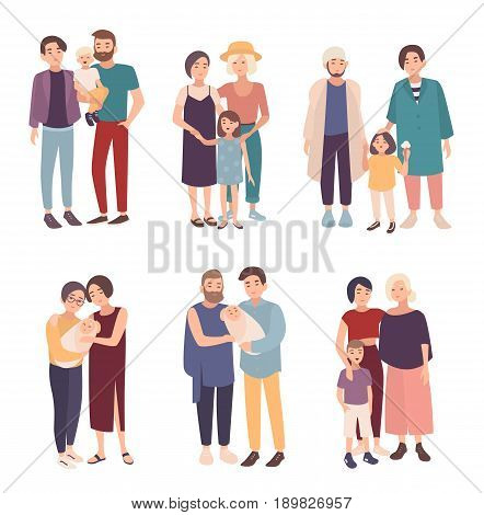 Set of gay couple with children of different ages. LGBT male and female with babies. Homosexual family collection. Colorful vector illustration in cartoon style