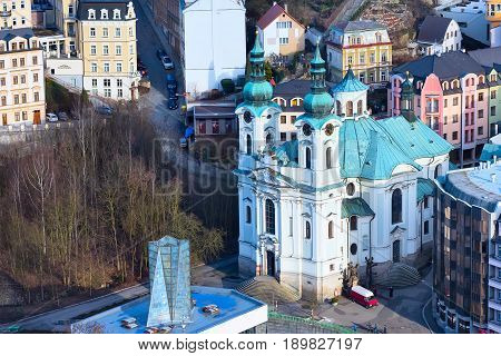 Karlovy Vary, Czech Republic - February 24, 2017: Karlovy Vary, aerial panoramic famous spa town view with cathedral