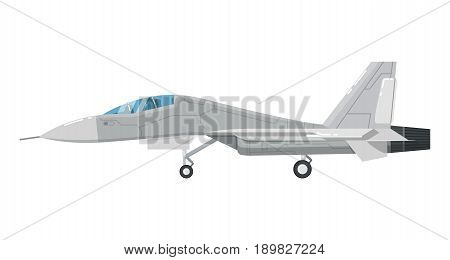 Jet assault aircraft isolated icon. Modern army force aviation, air transport, supersonic combat airplane, jet plane vector illustration