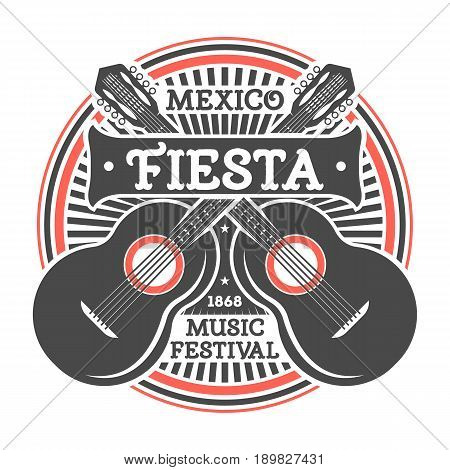 Mexican fiesta vintage isolated label with guitar. Traditional authentic mexican culture element, national festival event emblem vector illustration.