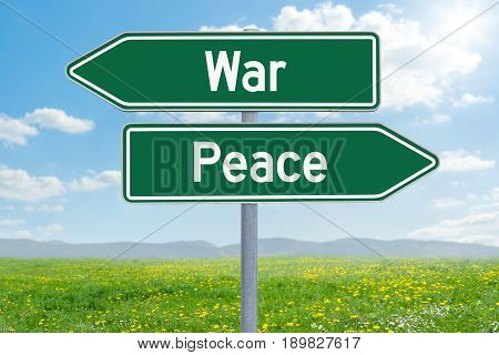 Two Green Direction Signs - War Or Peace