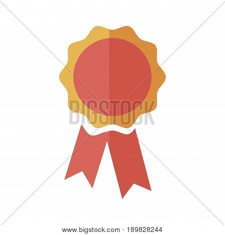 rosette award ribbon banner decoration icon vector illustration