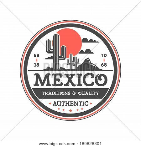 Mexican vintage isolated label with with cactuses. Traditional authentic mexican culture element, national festival event emblem vector illustration.