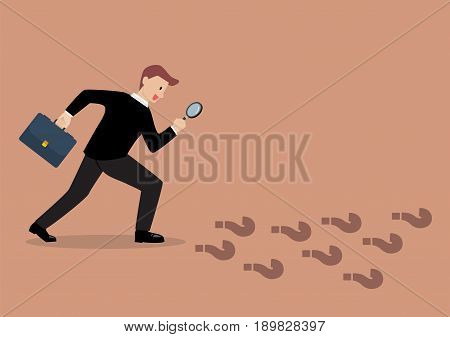 Detective businessman finding answer. Business vision concept