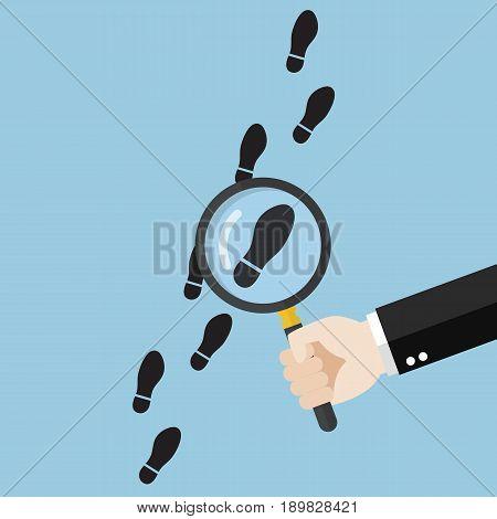 Hand holding magnifying glass over footsteps. Vector illustration