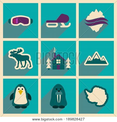 Set of flat web icons with long shadow Arctic