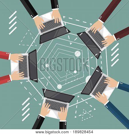 Meeting online vector illustration. flat style design