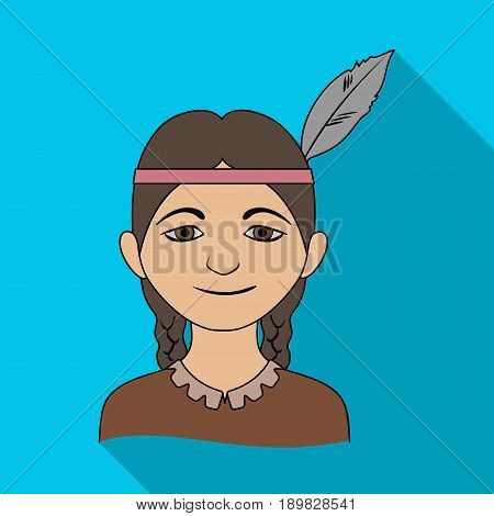 Indian.Human race single icon in flat style vector symbol stock illustration .