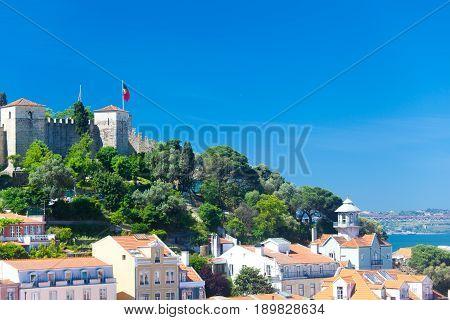 View of Lisbon with St Jorge Castle