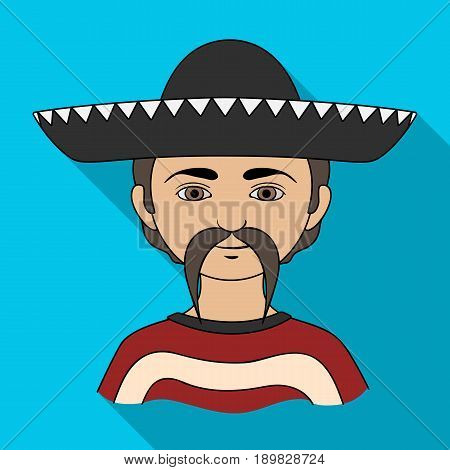 Mexican.Human race single icon in flat style vector symbol stock illustration .