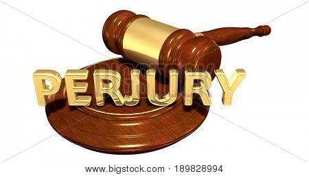 Perjury Law Concept 3D Illustration