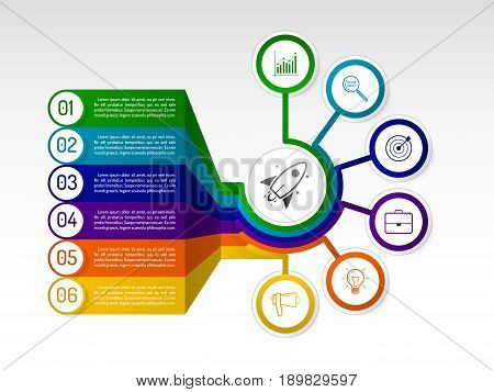 Infographic circle with icons and text blocks. Radial diagram with 6 options. Vector template for business presentation.