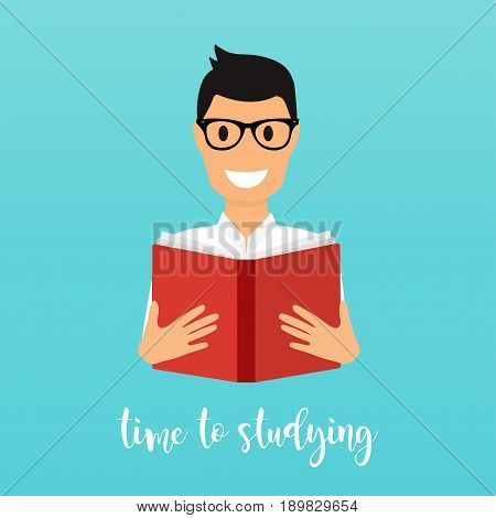 Time to studying. Young man reading a book. Flat design vector illustration.