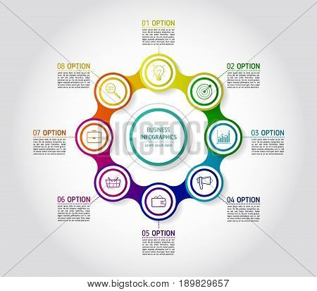 Circle colorful chain diagram infographics for presentations. Infographics background template with 8 options. Metaball circular elements with icons and text blocks