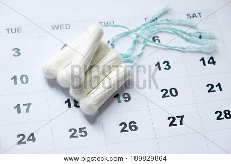 Menstrual Tampon Isolated On A Calendar Page