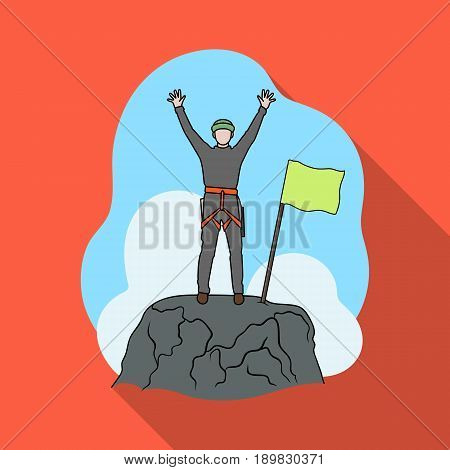 Climber on conquered top.Mountaineering single icon in flat style vector symbol stock illustration .