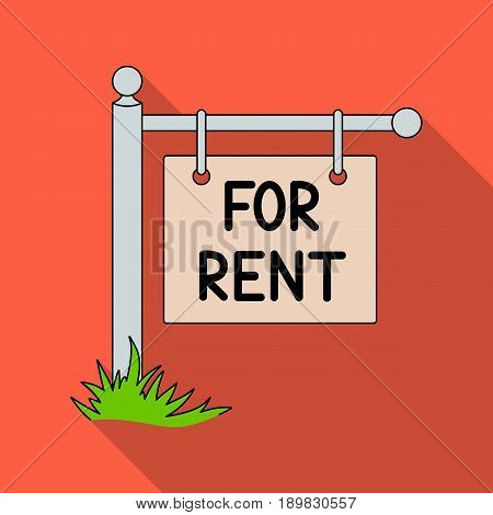 A sign on the pole for rent.Realtor single icon in flat style vector symbol stock illustration .